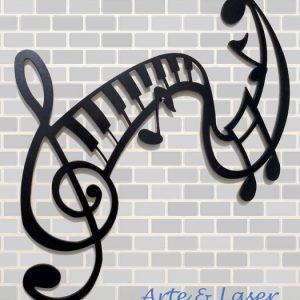 Placas Placa Decorativa Notas Musicais Mdf Pintura Em Lac...