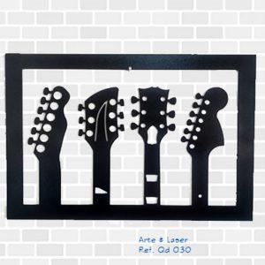 Quadros Quadro 4 guitarras 30×44 MDF com pintura em l... quadro de guitarras